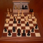 Black Boxwood Chess Set with Mahogany Board and Chest. 95mm King
