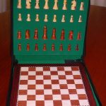 Deluxe Magnetic Travel Chess Set Rosewood Finish. 300 x 300mm