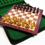 Deluxe Magnetic Travel Chess Set Rosewood Finish. 150 x 150mm