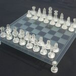 Glass Chess Set and Board. 76mm King