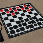 Garden Draughts/Checkers Set 73mm Diameter and Vinyl Mat
