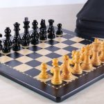 Deluxe Magnetic Travel Chess Set Ebony Finish. 300 x 300mm