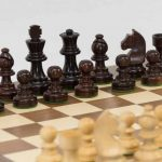 Anjan Chess Set with Walnut Board. 65mm King