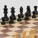 Black Boxwood Chess Set with Economic Board. 65mm King