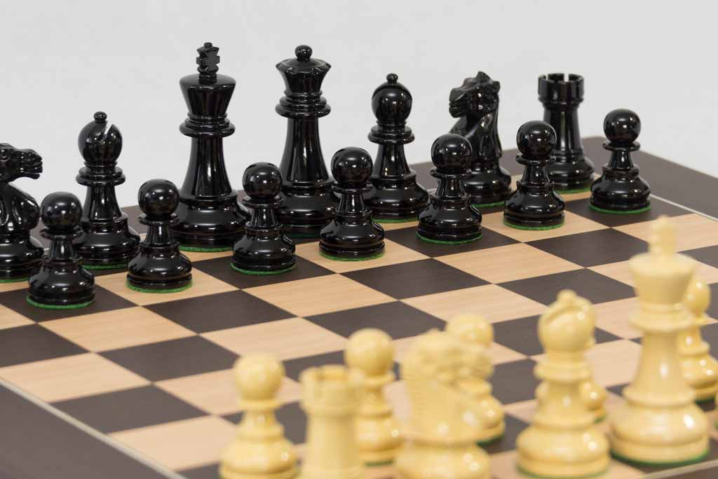 High Gloss Black And Ivory Chess Set With Wengue Board