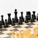 Modern Staunton Chess Set with Ebony Board. 101mm King