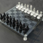 Black Glass Chess Set and Board 38mm Squares